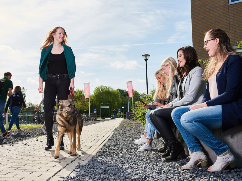 students with dog from Animal health and management student from Aeres University of Applied Sciences