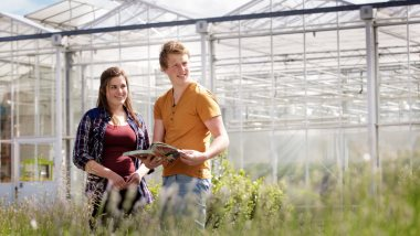 Arable farming or horticulture students from Aeres University of Applied Sciences at greenhouse